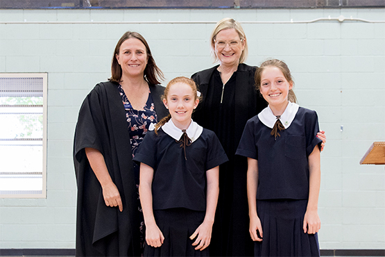 St Margaret's Deputy Principal Karen Gorrie, Head of Primary Angela Drysdale and 2019 Primary School Captains Cate Hughes and Lucy Goodall