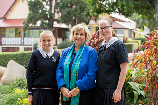 St Margaret's School Captain Isabella Corby-Bakkelund, Principal Ms Ros Curtis and School Captain Ella Leavey
